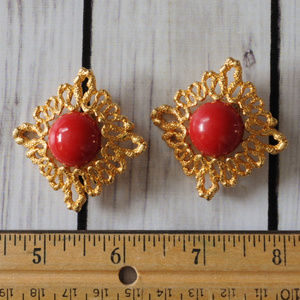 vintage gold filigree red cab earrings diamond sha